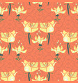 ornamental floral repeat pattern in peach vector image vector image