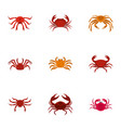 overland crab icons set cartoon style vector image vector image