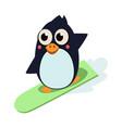 penguin surfing vector image