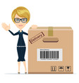 picture of attractive businesswoman with cardboard vector image
