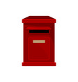 red metal postal box wall-mounted mailbox vector image vector image