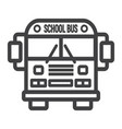 school bus line icon transport and vehicle vector image vector image