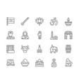 set indian culture line icons elephant tuk vector image