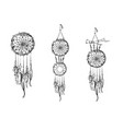 Set of hand drawn dream catchers ornate ethnic