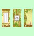 spa salon bamboo banner set realistic vector image vector image