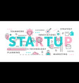 startup word abstract thin line vector image vector image