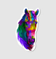 sticker colorful horse head vector image vector image