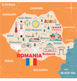 stylized map romania vector image vector image