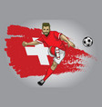 switzerland soccer player with flag as a vector image vector image