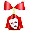 theatrical mask with a red ribbon vector image vector image