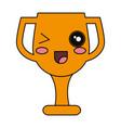 trophy cup kawaii character vector image
