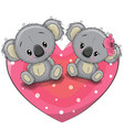 two cute koalas on a heart vector image vector image