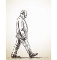 walking old Man vector image vector image