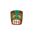 wooden tiki mask with drawn face icon flat cartoon vector image vector image