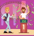 young happy quiz game winner in the money rain vector image vector image