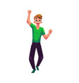 young man boy guy rejoicing cheering jumping vector image