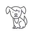 cute dog line icon sign on vector image
