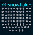 74 hand drawn snowflakes doodle vector image