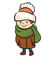 a little boy in winter clothes or color vector image vector image