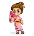 An Asian girl wearing a kimono vector image vector image
