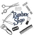 barbershop tools isolated on white background vector image