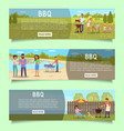 bbq web banner template set flat vector image