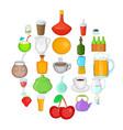boozing icons set cartoon style vector image vector image