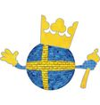 Brick ball with Swedish flag vector image vector image