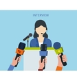 Businesswoman answering press vector image
