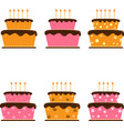 cartoon cake hand drawing isolated on white vector image vector image
