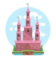 Cartoon fairy tale pink alcazar castle vector image