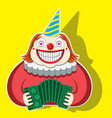character funny clown playing accordion in a vector image vector image
