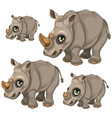 cute rhino with green eyes animals vector image vector image