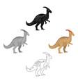 dinosaur parasaurolophus icon in cartoonblack vector image