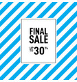 final sale poster or banner with blue stripes vector image vector image