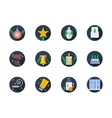 Flat round colored icons for winter vector image