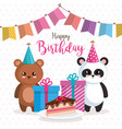 happy birthday card with bear panda and teddy vector image vector image