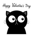 happy valentines day black sad cat head face vector image vector image