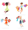happy women jump with shopping bags young girls vector image
