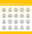 jack o lantern simple black line icons set vector image vector image