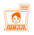 laptop computer talking student home education vector image vector image