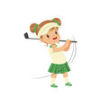 lovely little girl playing golf kids physical vector image