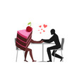 lover of cakes man and piece of cake in cafe vector image vector image
