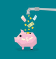 money flowing from water pipe to piggy bank vector image