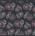 monochrome pattern with accent pink roses vector image vector image