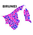 mosaic brunei map of round items vector image vector image