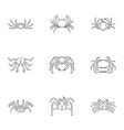 overland crab icons set outline style vector image vector image