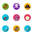 Pirates set icons in flat style Big collection of vector image vector image