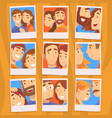 portraits romantic couples in love set photos vector image vector image