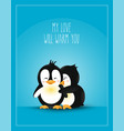 postcard design penguins vector image